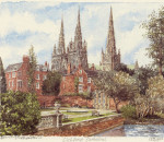 Lichfield - Cathedral from Minster Pool