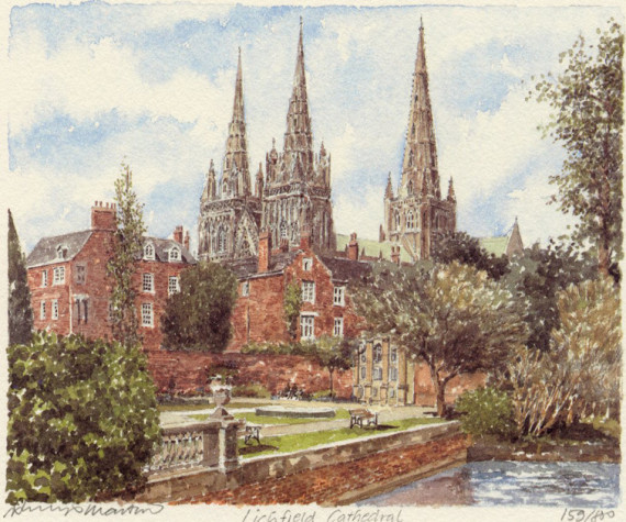 PB0831 Lichfield - Cath from Minster Pool